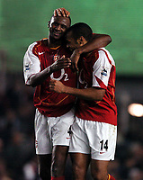 Photo: Javier Garcia/Back Page Images<br />Arsenal v Birmingham FA Barclays Premiership Highbury 04/12/04<br />Delight for Patrick Vieira and Thierry Henry after Henry made it 2-0