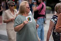 Bialystok, 21.07.2019. Tylko kilkadziesiat osob przeszlo w Marszu w obronie rodziny zorganizowanym przez bialostocki Klub Gazety Polskiej i Krucjate Rozancowa. Byla to riposta na sobotni Marsz Rownosci, ktory przeszedl ulicami miasta N/z na marszu rozdawano naklejki STREFA WOLNA OD LGBT fot Michal Kosc / AGENCJA WSCHOD