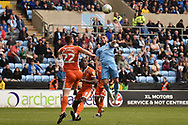 Coventry City striker (on loan from Portsmouth) Conor Chaplin (10) heads the ball during the EFL Sky Bet League 1 match between Coventry City and Shrewsbury Town at the Ricoh Arena, Coventry, England on 28 April 2019.