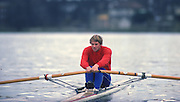 Chiswick, UNITED KINGDOM. Steve REDGRAVE training for the Scullers Head of the River race April1988 River Thames [Mandatory Credit Peter Spurrier/Intersport Images] 1988 Steve REDGRAVE, Training for the Scullers Head. LONDON