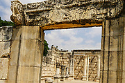 Ruins of the ancient forth Century CE synagogue uncovered on site at Capernaum, Sea of Galilee, Israel