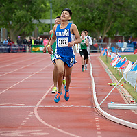 Galvin Curley of Navajo Pine, crosses the finish line to win the 3200m race during the NMMA 2A Boys State Championship in Albuquerque on Friday.