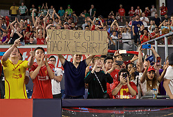 """NEW YORK, NEW YORK, USA - Wednesday, July 24, 2019: Liverpool supporters with a banner """"Virgil or Gini Mag ik je shirt?"""" during a friendly match between Liverpool FC and Sporting Clube de Portugal at the Yankee Stadium on day nine of the club's pre-season tour of America. (Pic by David Rawcliffe/Propaganda)"""