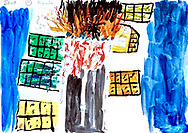 """""""Bad Day"""" by Javed, age 18, from Afghanistan. <br /> I was standing here, and this was a school of childrne, and it was bombed. Everywhere was blood, and people running to here. I was just watching. This was school damaged. It was in Pakistan, Queta, before I came to Europe. In 2015. I was in living there because it was safer than Afghanistan. Yes, I can still smell it, and hear it, and see it. At first, it was really hard to hear, and listen. <br /> <br /> The Taliban or ISIS bombed a local school, and I was nearby. I remember the sounds, the screams, the smell of fire and burning children. I still see these things."""