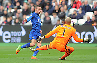 Football - 2016 / 2017 Premier League - West Ham United vs. Leicester city<br /> <br /> Jamie Vardy of Leicester City has his shot saved by Darren Randolph of West Ham at The London Stadium.<br /> <br /> <br /> Norway only