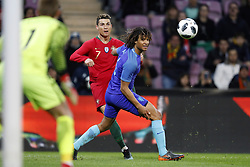(L-R) goalkeeper Jasper Cillessen of Holland, Cristiano Ronaldo of Portugal, Nathan Ake of Holland during the International friendly match match between Portugal and The Netherlands at Stade de Genève on March 26, 2018 in Geneva, Switzerland