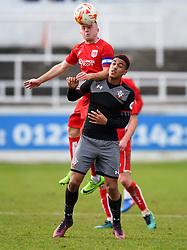 Joe Morrell of Bristol City U23 heads the ball - Mandatory by-line: Paul Knight/JMP - 16/02/2017 - FOOTBALL - Twerton Park - Bath, England - Bristol City U23 v Southampton U23 - Premier League 2 Cup