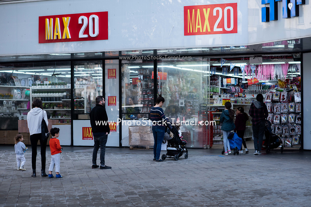 Panic buying and hoarding due to the outbreak of COVID-19. The queue was photographed in Tel Aviv, Israel on April 8th 2020
