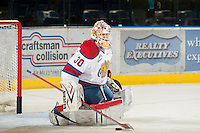 KELOWNA, CANADA - NOVEMBER 7:  Tristan Jarry #30 of the  Edmonton Oil Kings warms up in net at the Kelowna Rockets on November 7, 2012 at Prospera Place in Kelowna, British Columbia, Canada (Photo by Marissa Baecker/Shoot the Breeze) *** Local Caption ***