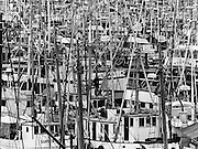The west walkway of the Ballard Bridge overlooked a forest of masts, ropes, chains and chocks at Fisherman's Terminal in Seattle. <br />