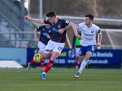 20MAR21 Falkirk's Robbie Leitch and Montrose Terry Mason. Falkirk 2 v 0 Montrose, Scottish Football League Division One game played 20/3/2021 at The Falkirk Stadium.