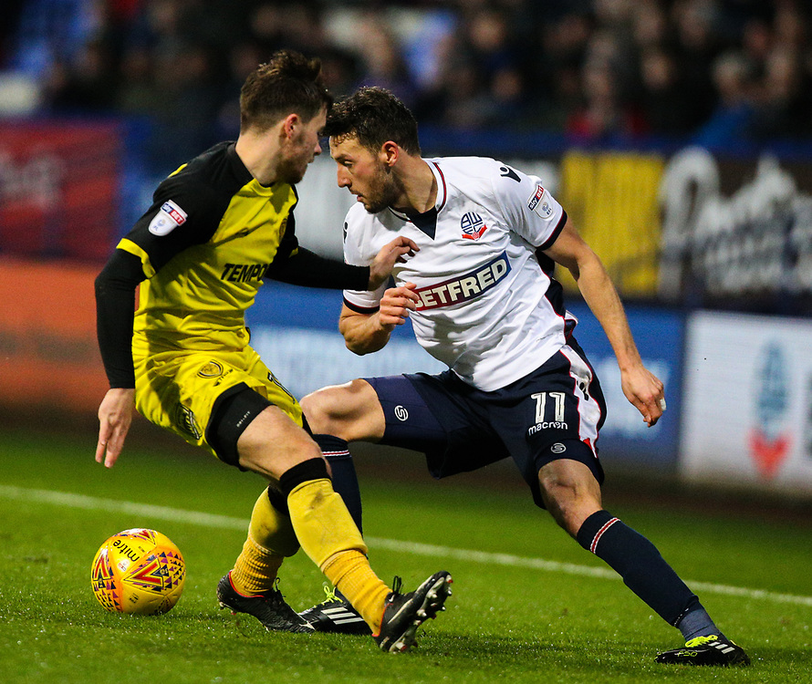 Bolton Wanderers' Will Buckley takes on Burton Albion's Will Miller<br /> <br /> Photographer Alex Dodd/CameraSport<br /> <br /> The EFL Sky Bet Championship - Bolton Wanderers v Burton Albion - Saturday 16th December 2017 - Macron Stadium - Bolton<br /> <br /> World Copyright © 2017 CameraSport. All rights reserved. 43 Linden Ave. Countesthorpe. Leicester. England. LE8 5PG - Tel: +44 (0) 116 277 4147 - admin@camerasport.com - www.camerasport.com