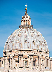 View of St Peters Basilica dome in St Peter's Square in Vatican City Rome , Italy