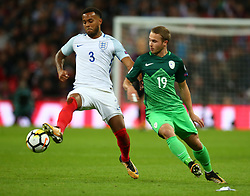 October 5, 2017 - London, England, United Kingdom - L-R England's Ryan Bertrand holds of Jan Repas of Slovenia ..during FIFA World Cup Qualifying - European Region - Group F match between England and Slovenia  at Wembley stadium, London 05 Oct 2017  (Credit Image: © Kieran Galvin/NurPhoto via ZUMA Press)