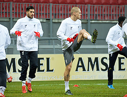 KAZAN, RUSSIA - Wednesday, November 4, 2015: Liverpool's Emre Can and Martin Skrtel training at the Kazan Arena ahead of the UEFA Europa League Group Stage Group B match against FC Rubin Kazan. (Pic by Oleg Nikishin/Propaganda)