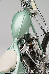 """""""Paradise"""", a seafoam green panhead chopper built by Jake and Zach Hindes of Prism Supply in Charlotte, NC. Photographed by Michael Lichter in Sturgis, SD on August 7, 2017. ©2017 Michael Lichter."""