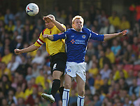 Photo: Daniel Hambury.<br />Watford v Leicester City. Coca Cola Championship.<br />15/10/2005.<br />Watford's Gavin Mahon and Leicester's Stephen Hughes battle for the ball.