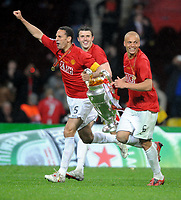Rio Ferdinand and Team Wes Brown Celebrate with the European Cup<br /> 2008, <br /> Champions League Finale Manchester United FC - FC Chelsea <br /> <br /> Norway only