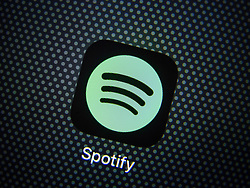 Spotify online music streaming app  on an iPhone 6 plus smart phone