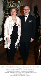 JOHN & PENNY GUMMER at a dinner in London on 23rd March 2004.<br /> PSU 72