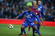 Junior Hoilett of Cardiff city is challenged by Fernandinho of Manchester city. The Emirates FA Cup, 4th round match, Cardiff city v Manchester City at the Cardiff City Stadium in Cardiff, South Wales on Sunday 28th January 2018.<br /> pic by Andrew Orchard, Andrew Orchard sports photography.