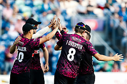 Max Waller of Somerset celebrates with team mates<br /> <br /> Photographer Simon King/Replay Images<br /> <br /> Vitality Blast T20 - Round 1 - Glamorgan v Somerset - Thursday 18th July 2019 - Sophia Gardens - Cardiff<br /> <br /> World Copyright © Replay Images . All rights reserved. info@replayimages.co.uk - http://replayimages.co.uk