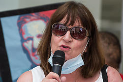 Sandy Palmer, former chair of Hemel Hempstead CLP, addresses supporters of left-wing Labour Party groups at a protest lobby outside the party's headquarters on 20th July 2021 in London, United Kingdom. The lobby was organised to coincide with a Labour Party National Executive Committee meeting during which it was asked to proscribe four organisations, Resist, Labour Against the Witchhunt, Labour In Exile and Socialist Appeal, members of which could then be automatically expelled from the Labour Party.