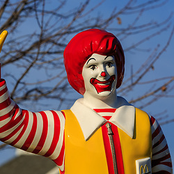 Hershey, PA / USA - December 10, 2015: The Ronald McDonald statue outside the Ronald McDonald's House in Hershey.