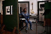 Nekita listens back at the track she just recorded in New Haven