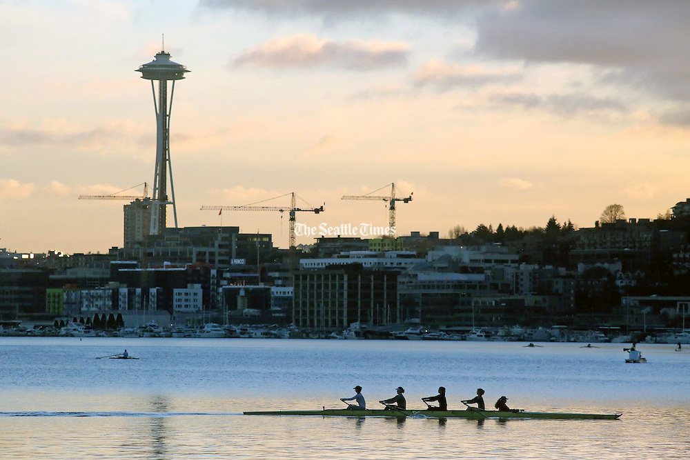 Three classic Seattle sights: Rowers on Lake Union, the Space Needle and construction cranes are silhouetted in the late afternoon sun. (Greg Gilbert/The Seattle Times)
