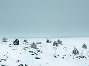 The graveyard from Isortoq. Life in and around the small Inuit settlement of Isortoq (population of 64), in East Greenland.