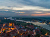 Aerial view of Tvrđa and Drava river in Osijek at sunset, Croatia.