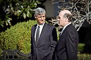 US Treasury Secretary Robert Rubin (L) talks with Commerce Secretary Bill Daley at the White House April 8, 1999 in Washington D.C.