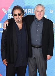 Al Pacino and Robert De Niro at The Irishman photocall, part of the BFI London Film Festival 2019, May Fair Hotel. Photo credit should read: Doug Peters/EMPICS