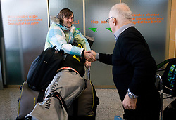 Slovenian alpine skier Ales Gorza and Janez Matoh at arrival to Airport Joze Pucnik from Vancouver after Winter Olympic games 2010, on February 25, 2010 in Brnik, Slovenia. (Photo by Vid Ponikvar / Sportida)