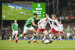 November 14, 2017 - Dublin, Ireland - Cyrus Christie of Ireland fights for the ball with William Kvist and Peter Ankersen of Denmark during the FIFA World Cup 2018 Play-Off match between Republic of Ireland and Denmark at Aviva Stadium in Dublin, Ireland on November 14, 2017 Denmark defeats Ireland 5:1. (Credit Image: © Andrew Surma/NurPhoto via ZUMA Press)