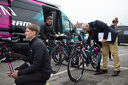 UCI delegates check CANYON//SRAM Racing bikes before the Tour de Yorkshire - a 122.5 km road race, between Tadcaster and Harrogate on April 29, 2017, in Yorkshire, United Kingdom.
