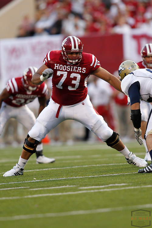 25 September 2010: Indiana Hoosiers offensive tackle James Brewer (73) as the Indiana Hoosiers played the Akron Zips in a college football game in Bloomington, Ind.
