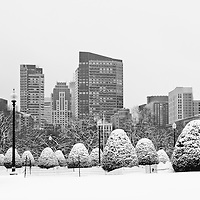 Boston winter photography photos are available as museum quality photography prints, canvas prints, acrylic prints, wood prints or metal prints. Wall art décor prints may be framed and matted to the individual liking and decorating needs:<br /> <br /> http://juergen-roth.pixels.com/featured/boston-noreaster-juergen-roth.html<br /> <br /> Boston Public Garden is popular with locals and tourists alike. This photo includes the George Washington Statue and parts of the financial district skyline with the newly constructed Millennium Tower and was taken after the last nor'easter now storm. <br /> <br /> All Boston photos are available for digital and print use at www.RothGalleries.com. Please contact me direct with any questions or request. <br /> <br /> Good light and happy photo making!<br /> <br /> My best,<br /> <br /> Juergen<br /> Prints: http://www.rothgalleries.com<br /> Photo Blog: http://whereintheworldisjuergen.blogspot.com<br /> Twitter: @NatureFineArt<br /> Instagram: https://www.instagram.com/rothgalleries<br /> Facebook: https://www.facebook.com/naturefineart