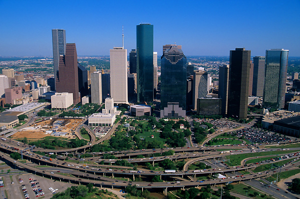 Houston skyline from the west