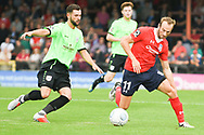 Wes York of York City (11) dribbles forward during the Vanarama National League North match between York City and Curzon Ashton at Bootham Crescent, York, England on 18 August 2018.