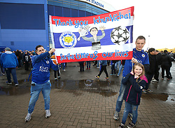 Leicester City fans pay their respect to Vichai Srivaddhanaprabha with a banner outside the King Power Stadium