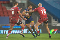 Rugby League - 2020 Coral Challenge Cup - Salford Red Devils vs Warrington Wolves - TW Stadium, St Helen's<br /> <br /> Warrington Wolves's Anthony Gelling is tackled <br /> <br /> <br /> COLORSPORT/TERRY DONNELLY