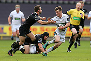 George Horne of Glasgow Warriors breaks past a tackle from Tom Habberfield of the Ospreys .Guinness Pro14 rugby match, Ospreys v Glasgow Warriors Rugby at the Liberty Stadium in Swansea, South Wales on Sunday 26th November 2017. <br /> pic by Andrew Orchard, Andrew Orchard sports photography.