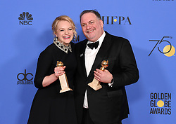 Lee Unkrich, Darla K. Anderson at the 75th Annual Golden Globe Awards held at the Beverly Hilton Hotel on January 7, 2018 in Beverly Hills, CA ©Tammie Arroyo-GG18/AFF-USA.com. 07 Jan 2018 Pictured: Elisabeth Moss. Photo credit: MEGA TheMegaAgency.com +1 888 505 6342