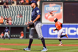 May 12, 2018 - Baltimore, MD, U.S. - BALTIMORE, MD - MAY 12:  Tampa Bay Rays starting pitcher Chris Archer (22) stands on the mound after surrendering a third inning home run to Baltimore Orioles second baseman Jonathan Schoop (6) during the game between the Tampa Bay Rays and the Baltimore Orioles on May 12, 2018, at Orioles Park at Camden Yards in Baltimore, MD.  (Photo by Mark Goldman/Icon Sportswire) (Credit Image: © Mark Goldman/Icon SMI via ZUMA Press)