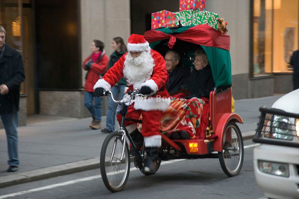 Santa Claus working out in New York City