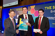 """SCCUL Enterprise Student Award 3rd Prize<br /> Shane Brennan & Barry Doyle (GMIT) sponsored by Galway City Council and Presented by Mr Tom O'Connell. <br /> <br /> Barry hails from Co. Cavan and Shane is from Lanesboro, Co. Longford.  Both are studying on the Rural Enterprise and Agric Business Course in GMIT.<br /> Their idea is for a new agriculture product called """"The Sliding Loader"""".  <br /> They developed the idea on their home farms- it came from a problem which was identified which was not being able to leave a grab of silage up close to the barrier and also not being able to clean out sheds tight in to the wall. A lot of farmers are having problems when they are feeding cattle as they can't see how close the loader is to the barrier.<br /> Barry & Shane believe this device will take the workload out of feeding cattle.  The loader will be able to slide 1 foot either side of its fixed position on the loader so it will give farmers some space to play with when putting in silage. Photo:Andrew Downes"""