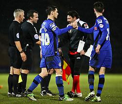 Rochdale's Ian Henderson celebrates with Rochdale's Scott Tanser after the final whistle - Photo mandatory by-line: Matt McNulty/JMP - Mobile: 07966 386802 - 03/03/2015 - SPORT - football - Rochdale - Spotland Stadium - Rochdale v Crewe Alexandra - Sky Bet League One