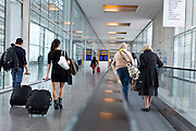 young and senior people in a hall going to the airplane, Toulouse, Blagnac, France